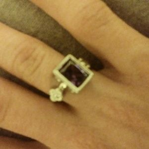 Silver plated purple CZ ring size 5